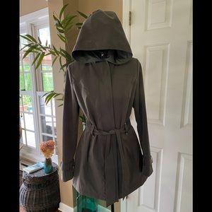 Gray Hooded Raincoat, Size Small.